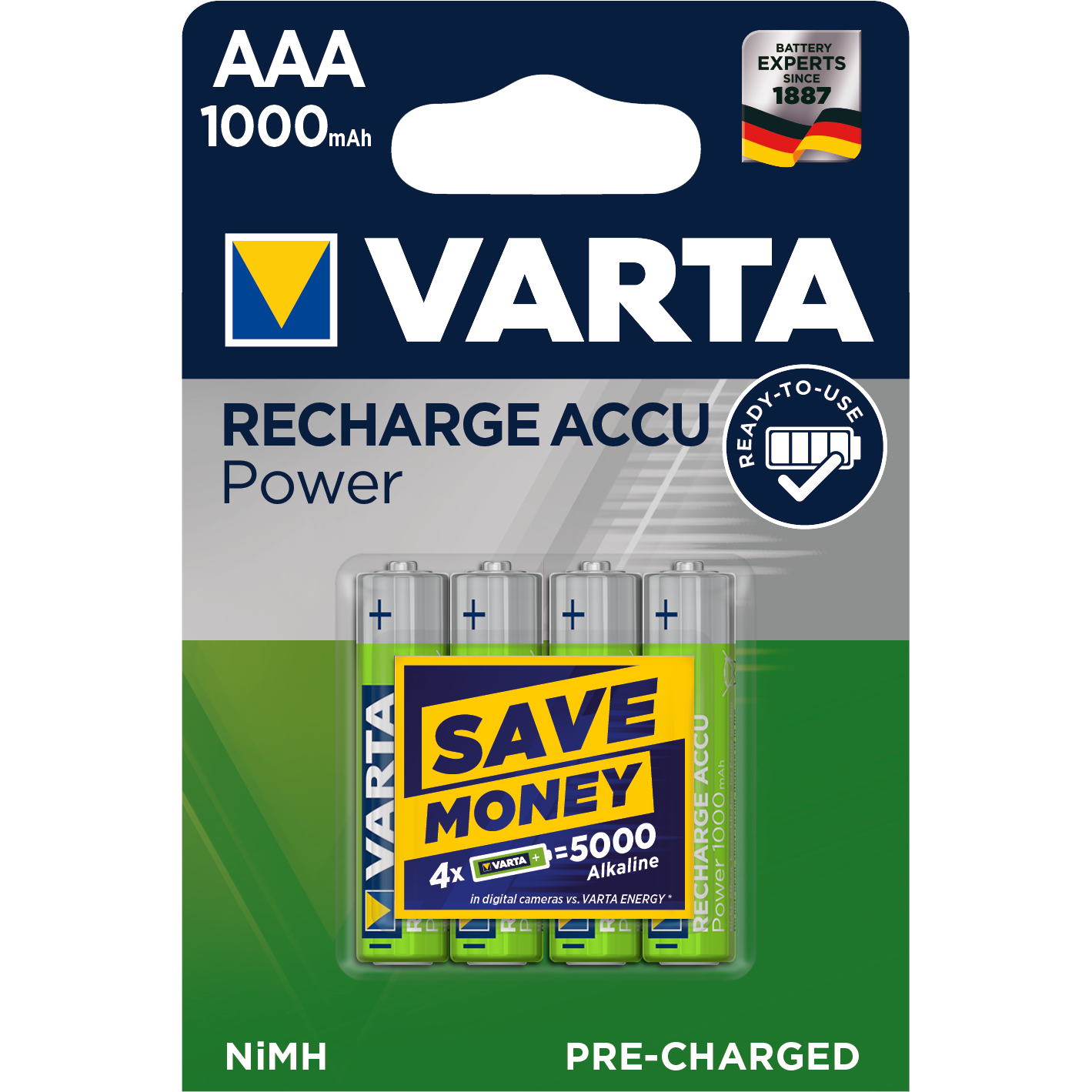 VARTA Ready2Use  Laddbart. AAA 1000mAh. 1,2 Volt NiMH  4-Pac