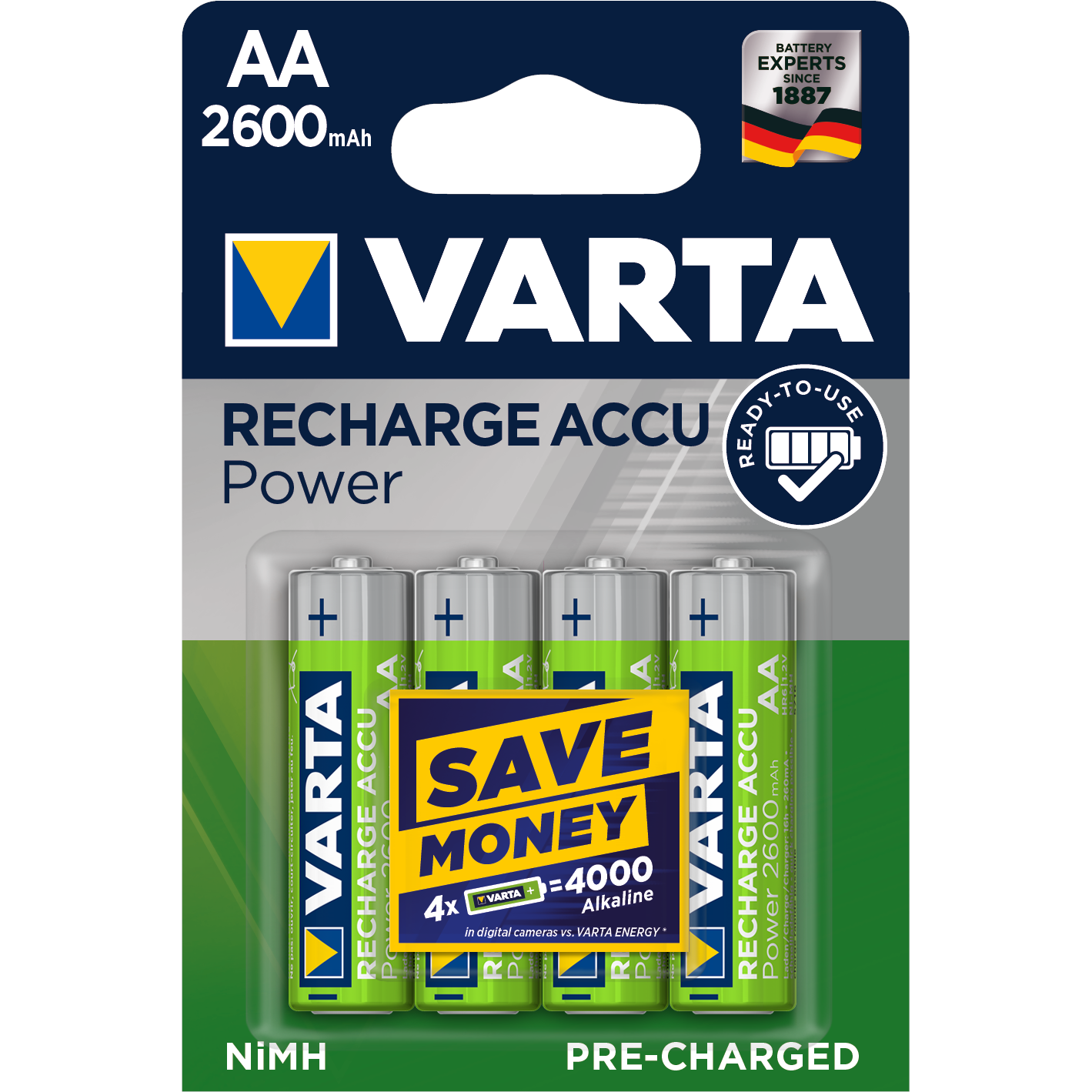 VARTA Ready2Use  Laddbart. AA 2600mAh. 1,2Volt. NiMh  4-Pack