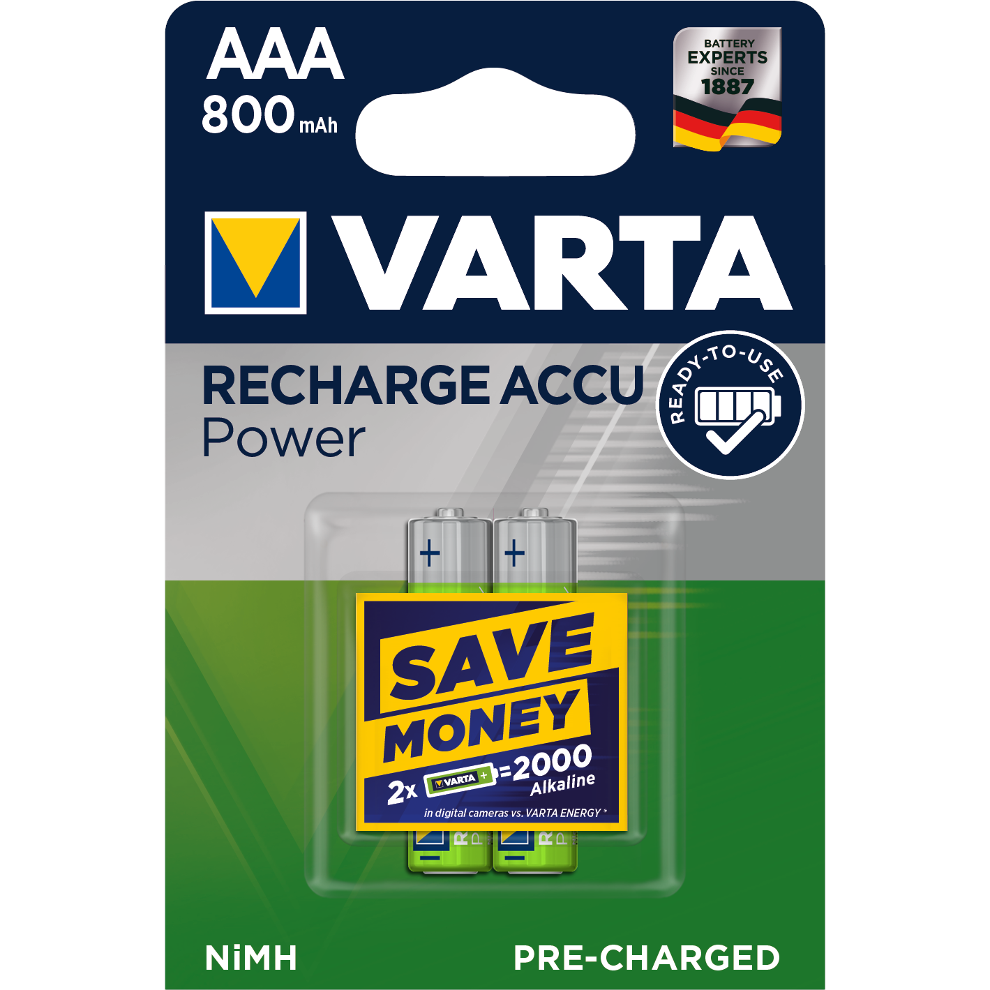 VARTA Ready2Use  Laddbart. AAA 800mAh. 1,2 Volt NiMH  2-Pack