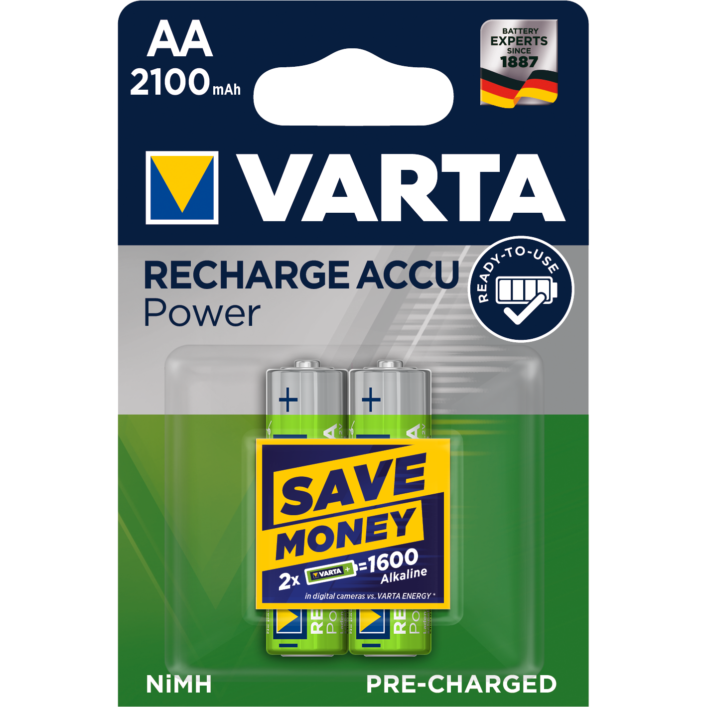 VARTA Ready2Use Laddbart. AA 2100mAh. 1,2Volt. NiMh  2-Pack