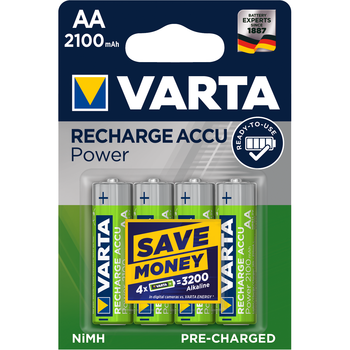 VARTA Ready2Use Laddbart AA 2100mAh. 1,2Volt. NiMh  4-Pack
